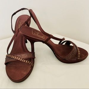 The Touch of Nina Burgundy Strappy Heels